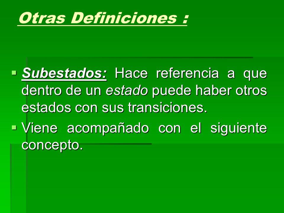 Otras Definiciones : Subestados: Hace referencia a que dentro de un estado puede haber otros estados con sus transiciones.