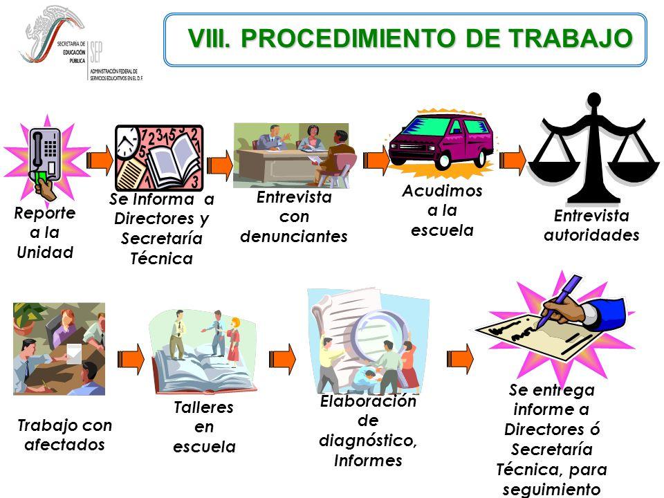 VIII. PROCEDIMIENTO DE TRABAJO