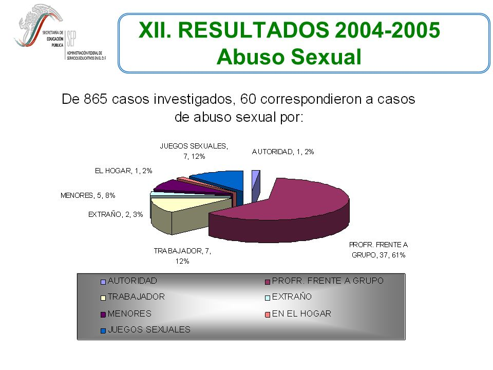 XII. RESULTADOS 2004-2005 Abuso Sexual