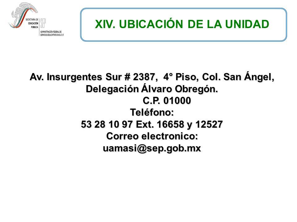 XIV. UBICACIÓN DE LA UNIDAD