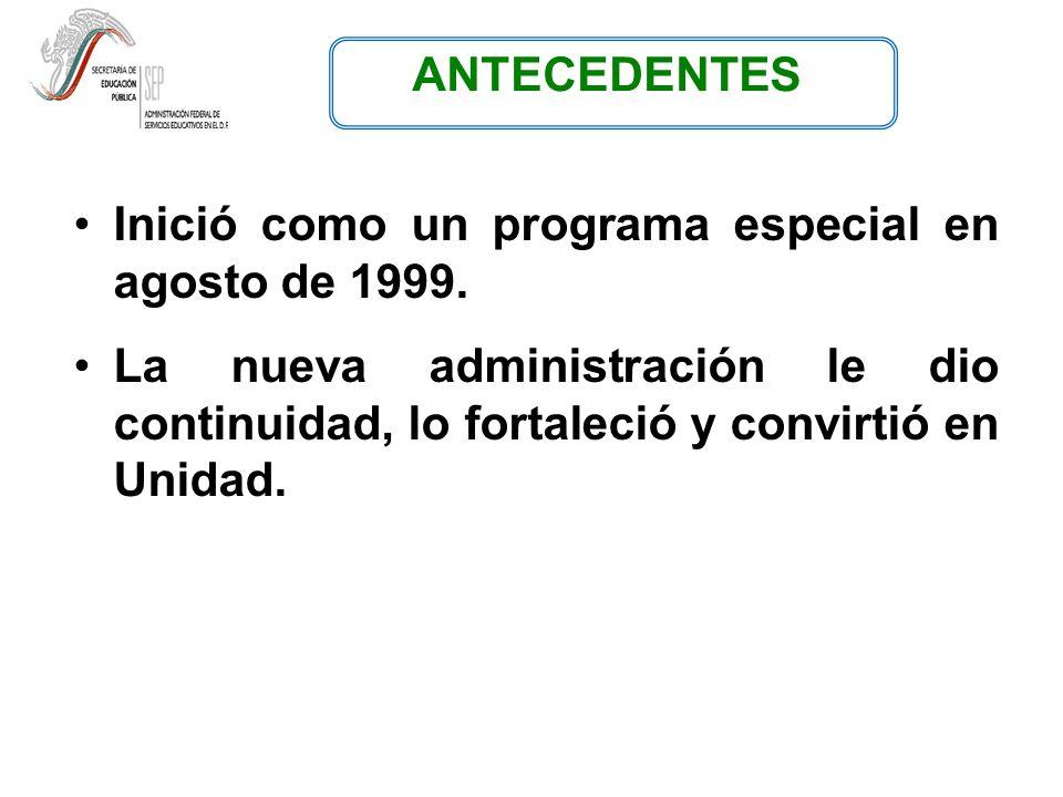 ANTECEDENTES Inició como un programa especial en agosto de 1999.