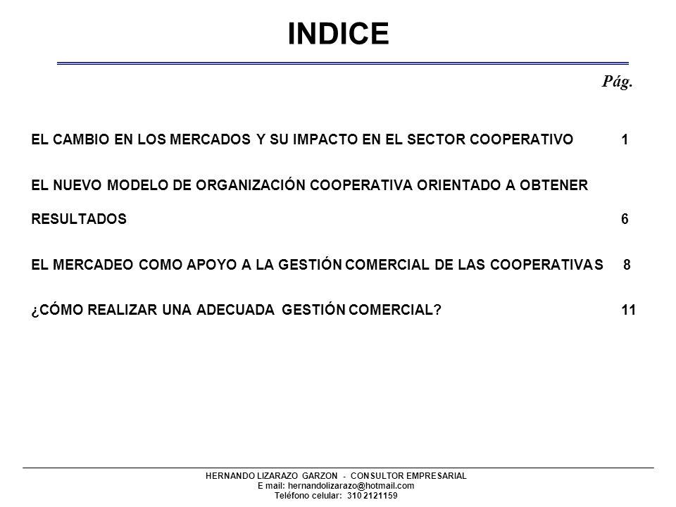 INDICE Pág. EL CAMBIO EN LOS MERCADOS Y SU IMPACTO EN EL SECTOR COOPERATIVO 1.