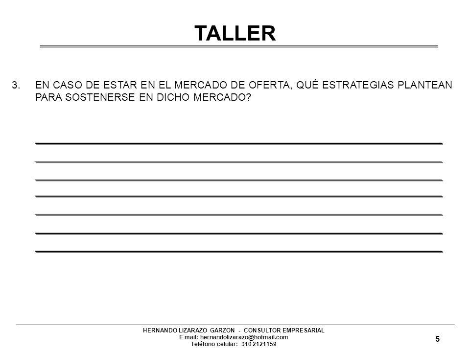 TALLER 3. EN CASO DE ESTAR EN EL MERCADO DE OFERTA, QUÉ ESTRATEGIAS PLANTEAN PARA SOSTENERSE EN DICHO MERCADO
