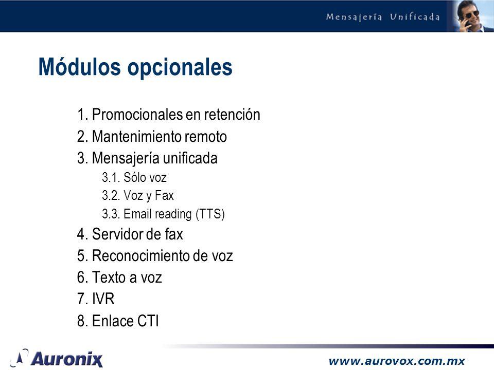 Módulos opcionales 1. Promocionales en retención