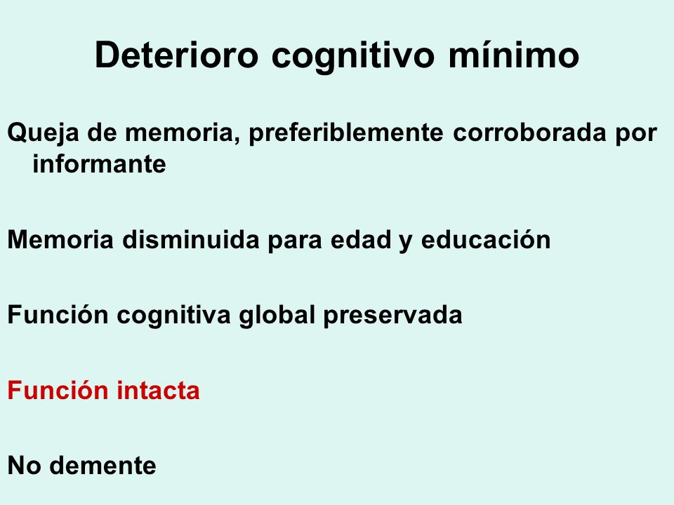 Deterioro cognitivo mínimo
