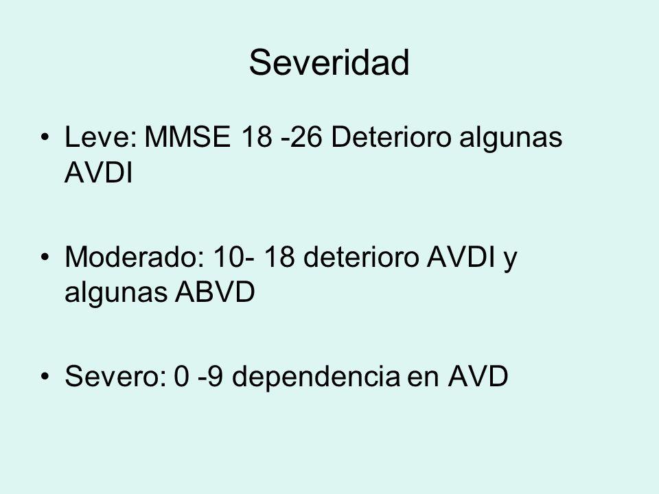 Severidad Leve: MMSE 18 -26 Deterioro algunas AVDI