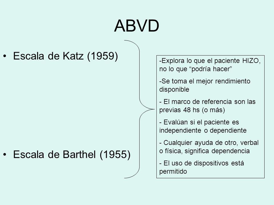 ABVD Escala de Katz (1959) Escala de Barthel (1955)