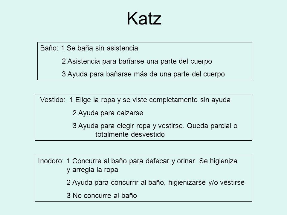 Katz Baño: 1 Se baña sin asistencia