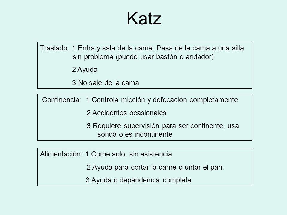 Katz Traslado: 1 Entra y sale de la cama. Pasa de la cama a una silla sin problema (puede usar bastón o andador)