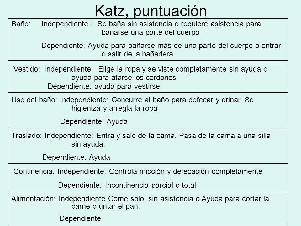 Katz, puntuación Baño: Independiente : Se baña sin asistencia o requiere asistencia para bañarse una parte del cuerpo.