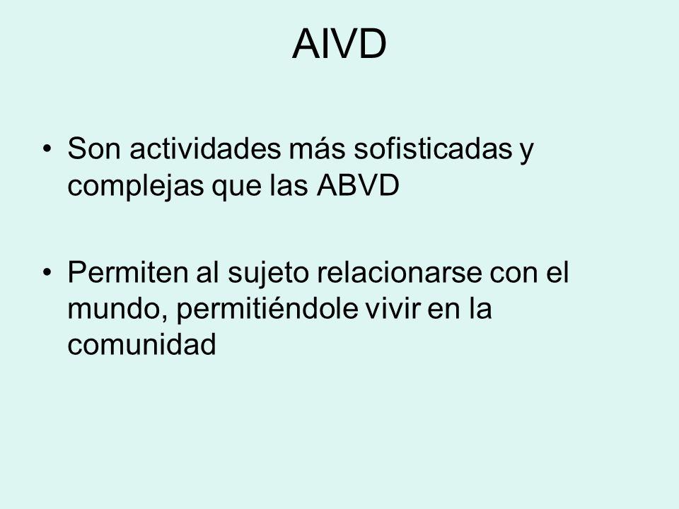 AIVD Son actividades más sofisticadas y complejas que las ABVD