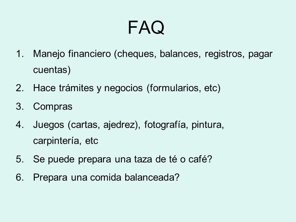 FAQ Manejo financiero (cheques, balances, registros, pagar cuentas)