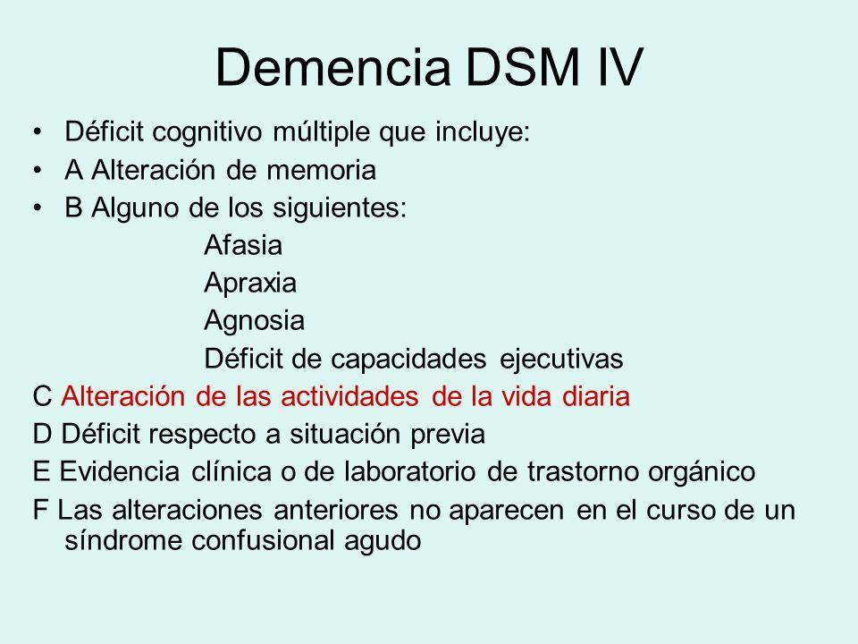 Demencia DSM IV Déficit cognitivo múltiple que incluye: