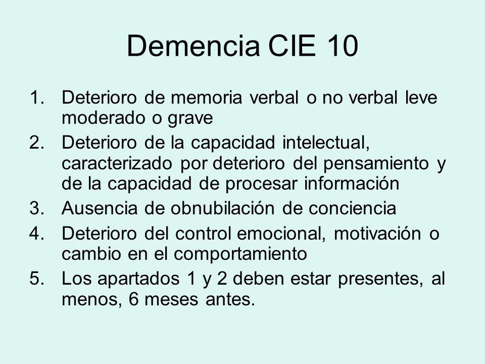 Demencia CIE 10 Deterioro de memoria verbal o no verbal leve moderado o grave.