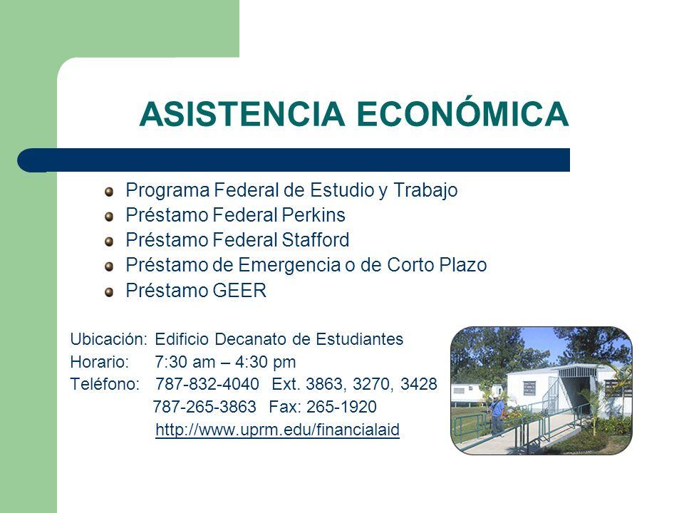 ASISTENCIA ECONÓMICA Programa Federal de Estudio y Trabajo