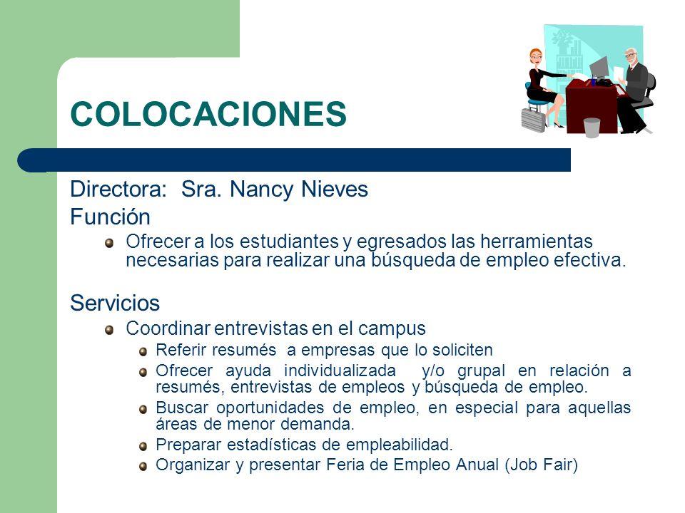 COLOCACIONES Directora: Sra. Nancy Nieves Función Servicios