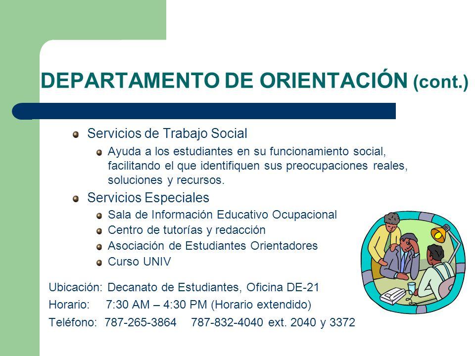 DEPARTAMENTO DE ORIENTACIÓN (cont.)