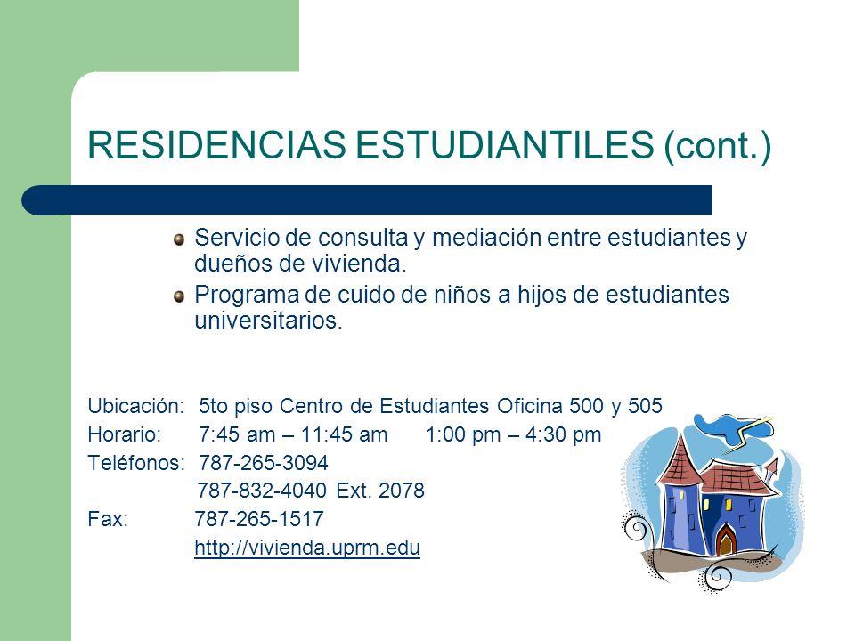 RESIDENCIAS ESTUDIANTILES (cont.)