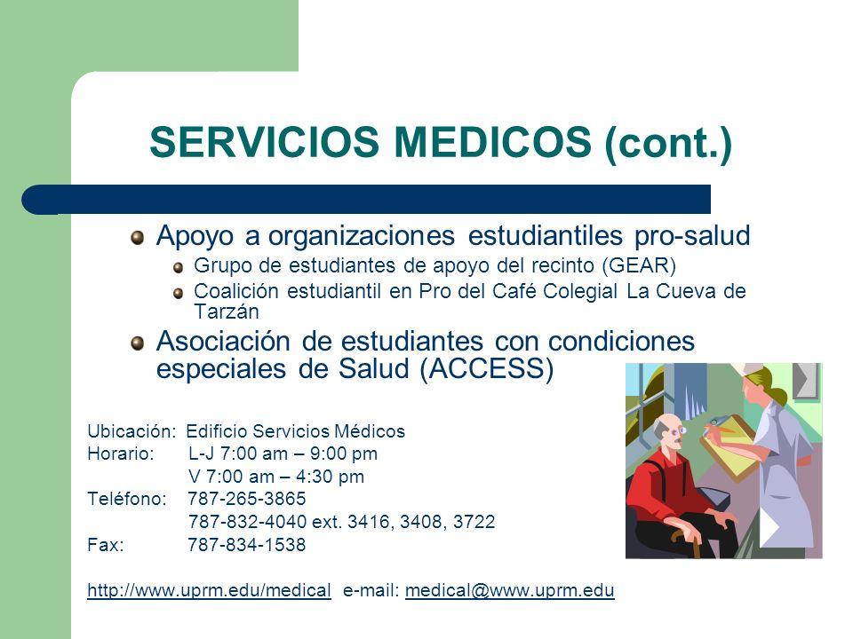 SERVICIOS MEDICOS (cont.)