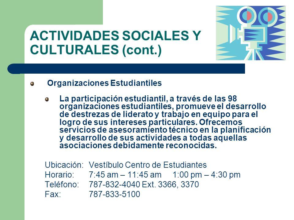 ACTIVIDADES SOCIALES Y CULTURALES (cont.)