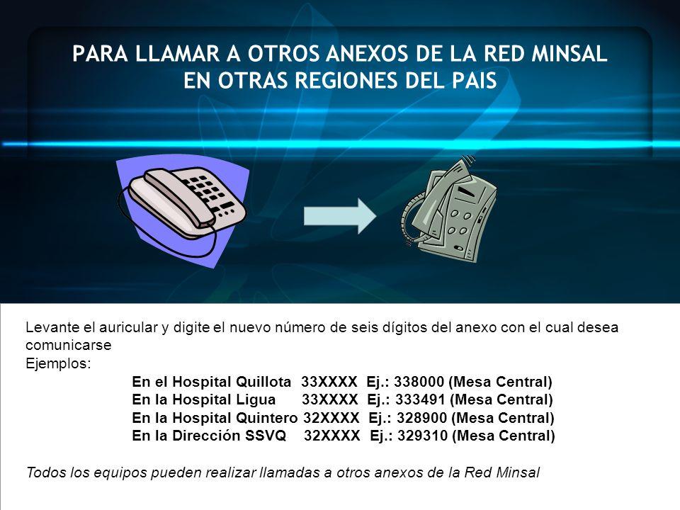 PARA LLAMAR A OTROS ANEXOS DE LA RED MINSAL EN OTRAS REGIONES DEL PAIS