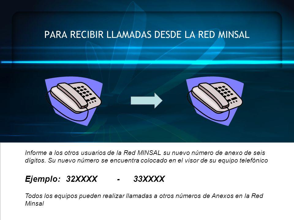PARA RECIBIR LLAMADAS DESDE LA RED MINSAL
