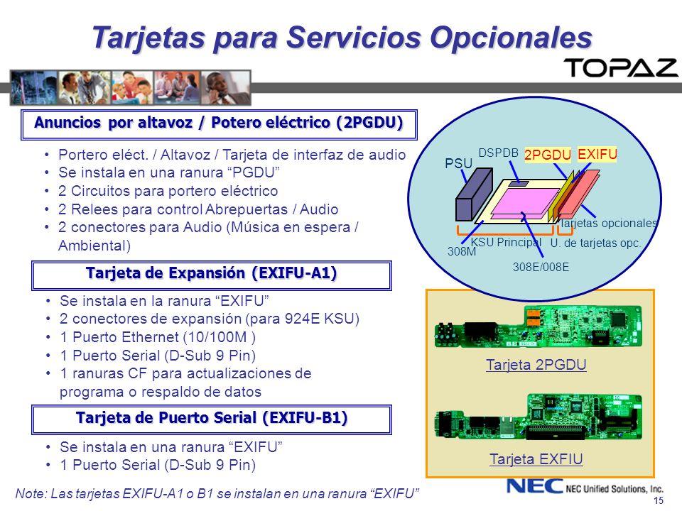 Tarjetas para Servicios Opcionales