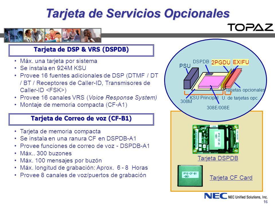 Tarjeta de Servicios Opcionales