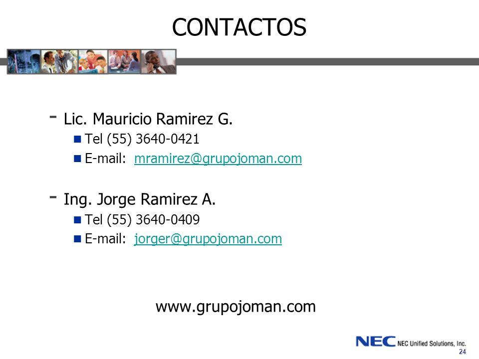 CONTACTOS Lic. Mauricio Ramirez G. Ing. Jorge Ramirez A.