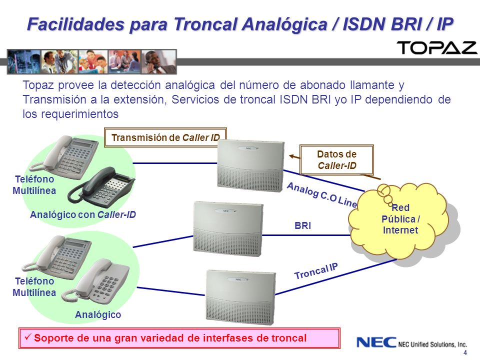 Facilidades para Troncal Analógica / ISDN BRI / IP