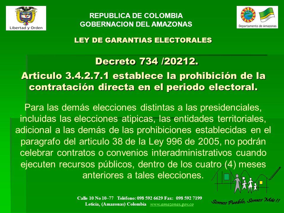 REPUBLICA DE COLOMBIA GOBERNACION DEL AMAZONAS