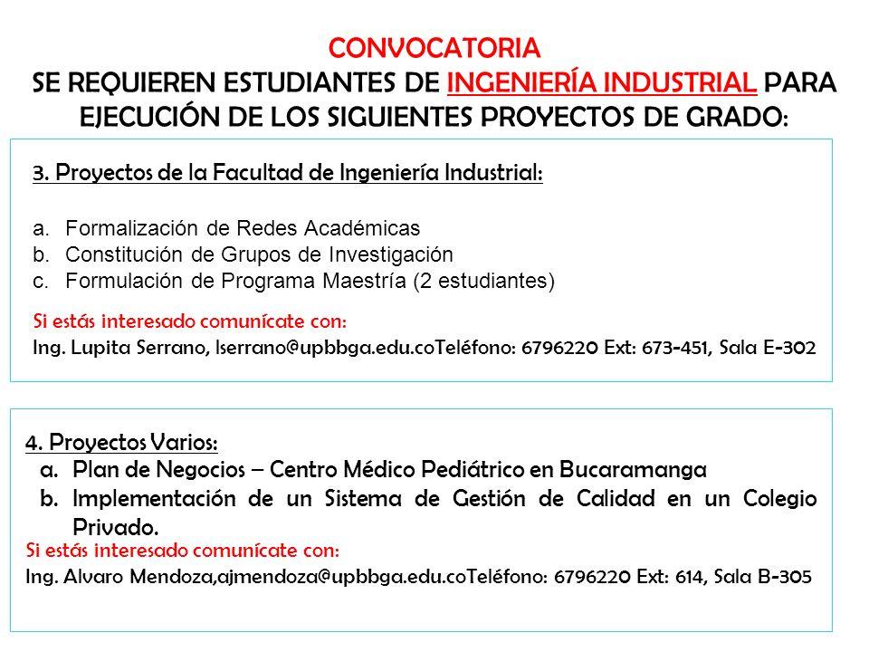 CONVOCATORIA SE REQUIEREN ESTUDIANTES DE INGENIERÍA INDUSTRIAL PARA EJECUCIÓN DE LOS SIGUIENTES PROYECTOS DE GRADO: