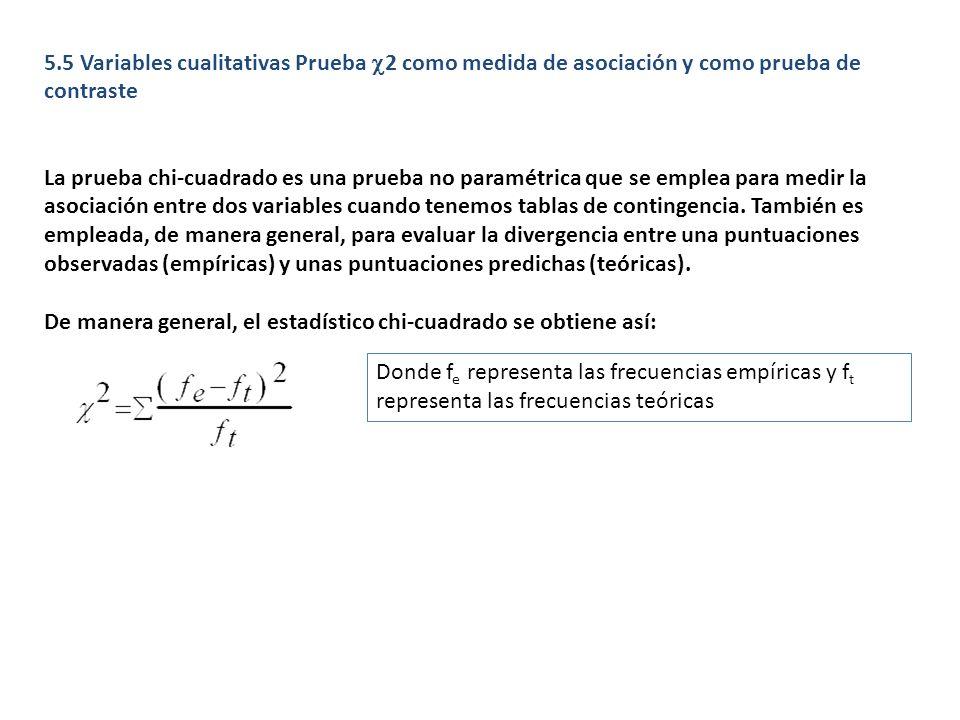 5.5 Variables cualitativas Prueba c2 como medida de asociación y como prueba de contraste