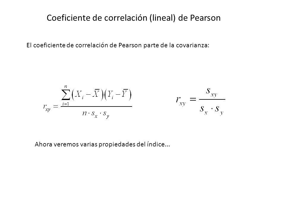 Coeficiente de correlación (lineal) de Pearson