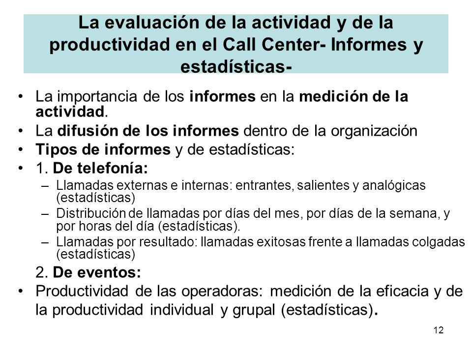 La evaluación de la actividad y de la productividad en el Call Center- Informes y estadísticas-