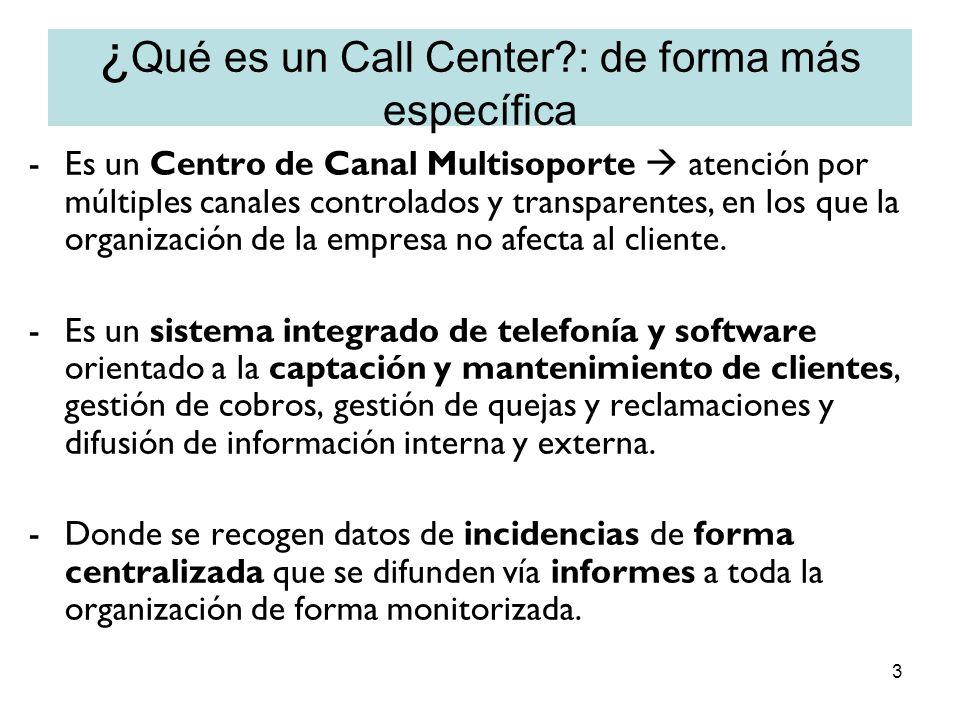 ¿Qué es un Call Center : de forma más específica
