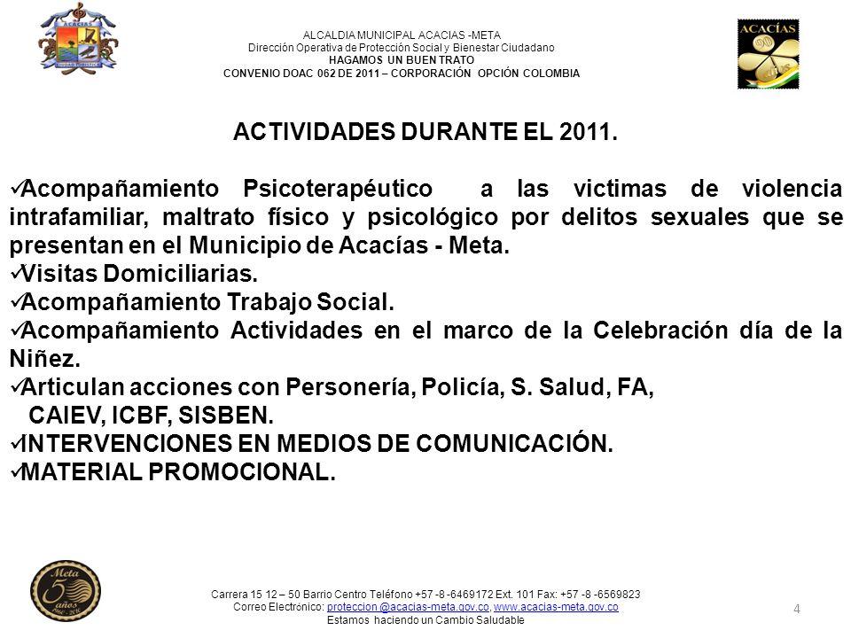 ACTIVIDADES DURANTE EL 2011.