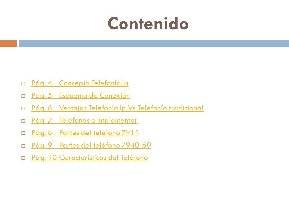 Contenido Pág. 4 Concepto Telefonía Ip Pág. 5 Esquema de Conexión