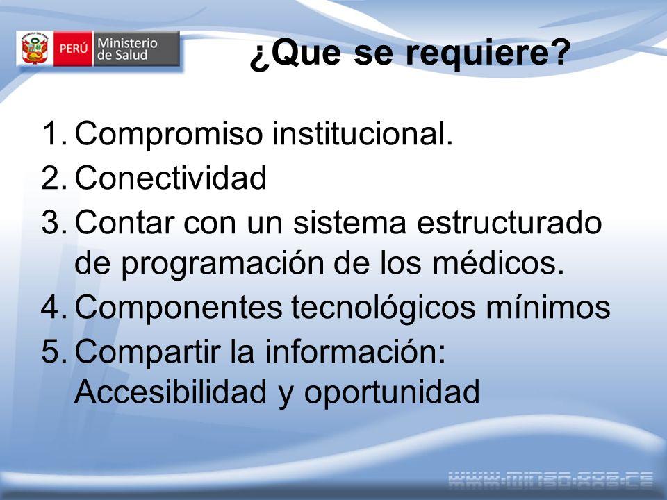 ¿Que se requiere Compromiso institucional. Conectividad