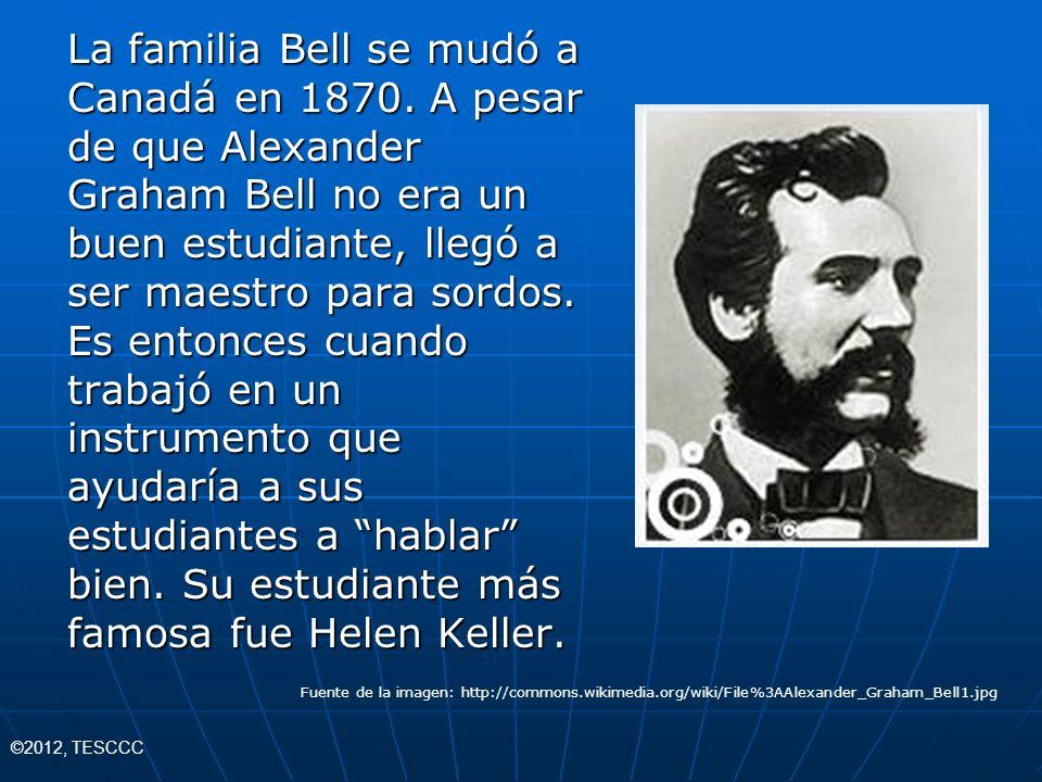 La familia Bell se mudó a Canadá en 1870