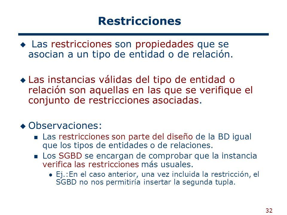 Restricciones Las restricciones son propiedades que se asocian a un tipo de entidad o de relación.