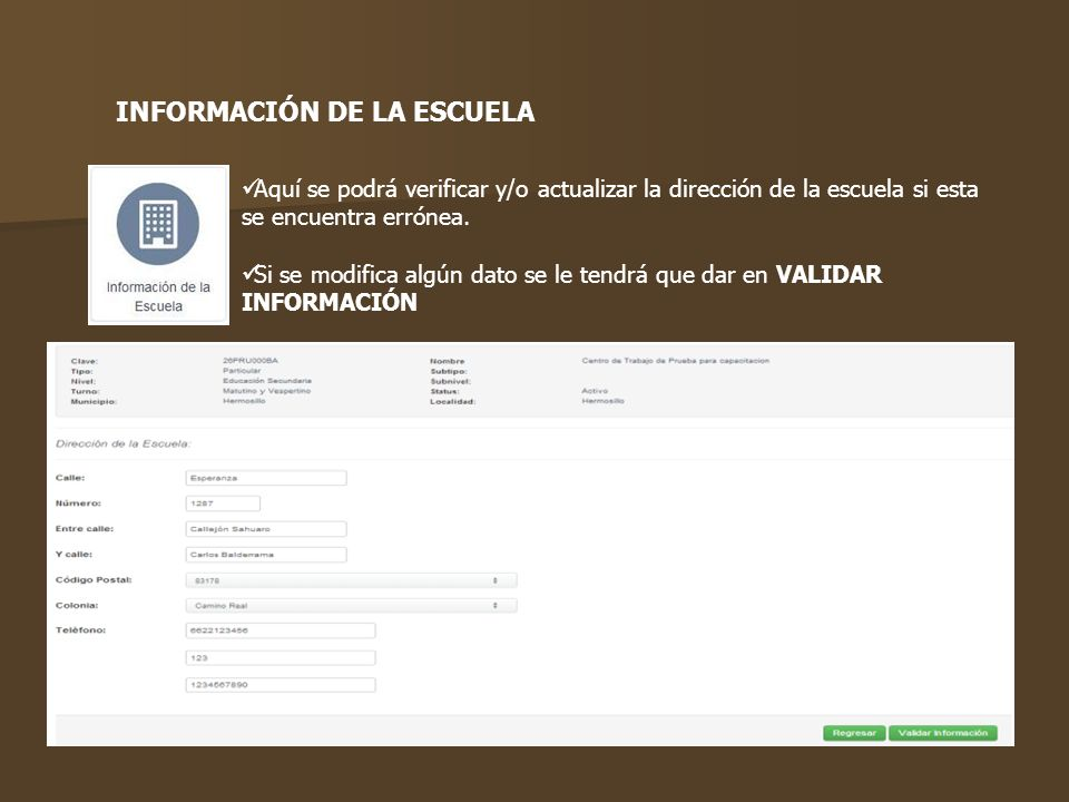 INFORMACIÓN DE LA ESCUELA