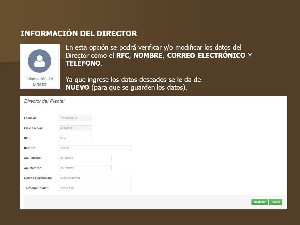 INFORMACIÓN DEL DIRECTOR