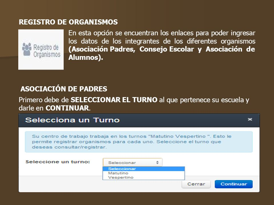 REGISTRO DE ORGANISMOS