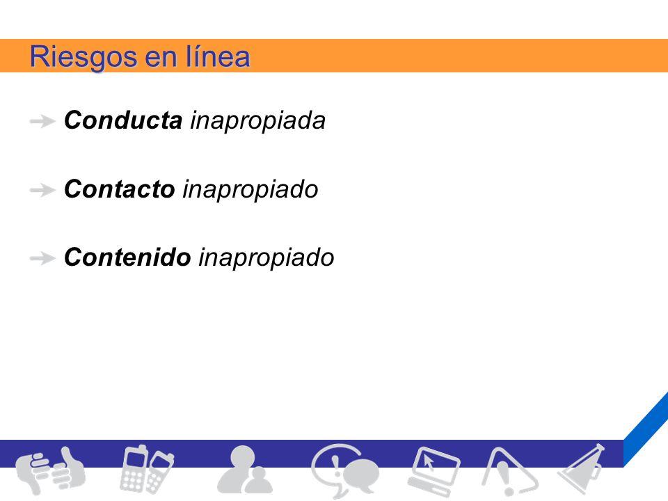 Riesgos en línea Conducta inapropiada Contacto inapropiado