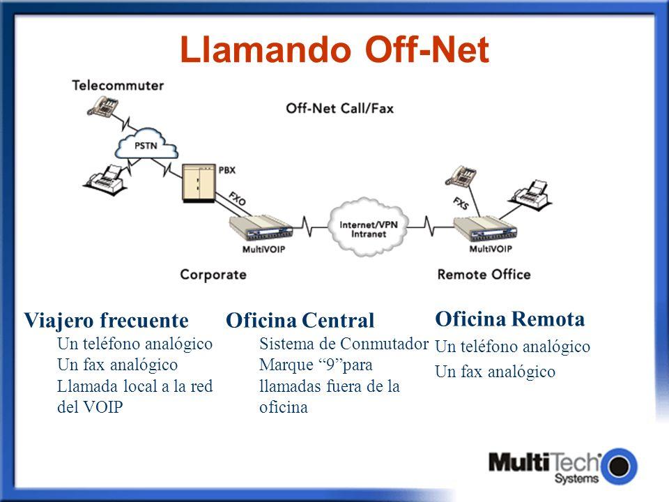 Llamando Off-Net Viajero frecuente Oficina Central Oficina Remota