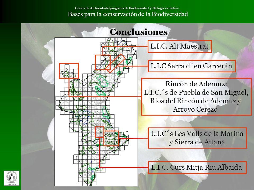 Conclusiones L.I.C. Alt Maestrat L.I.C Serra d´en Garcerán