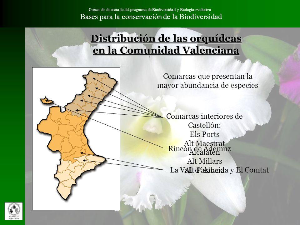 Distribución de las orquídeas en la Comunidad Valenciana