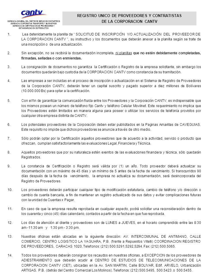 REGISTRO UNICO DE PROVEEDORES Y CONTRATISTAS DE LA CORPORACION CANTV