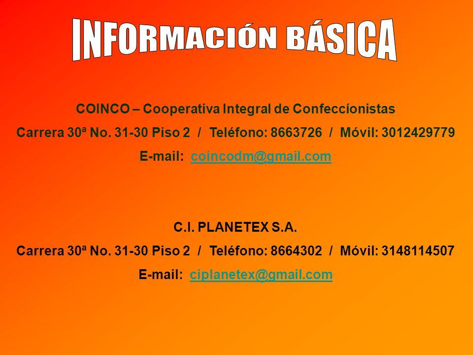 INFORMACIÓN BÁSICA COINCO – Cooperativa Integral de Confeccíonistas